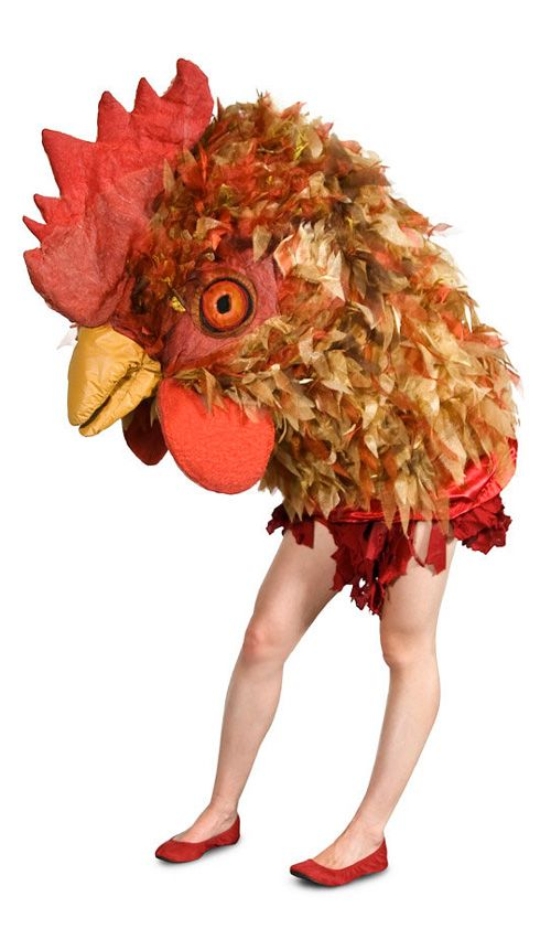 Giant Chicken Head Costume made out of fabric and foam by Etsy seller potratz, even has a moving beak like a giant puppet.