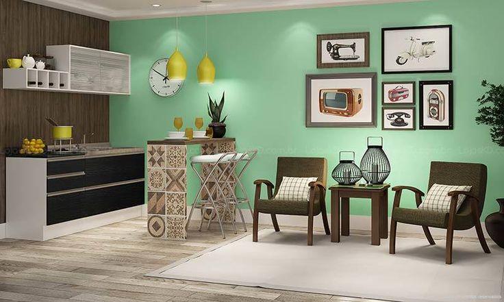 Conjunto para Sala de Estar/Cozinha com Poltronas Branco/Ébano/Imbuia/Nilo Liso - Caaza