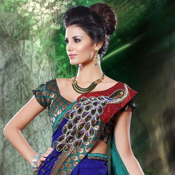 Royal Blue and Green Jacquard Saree with Blouse