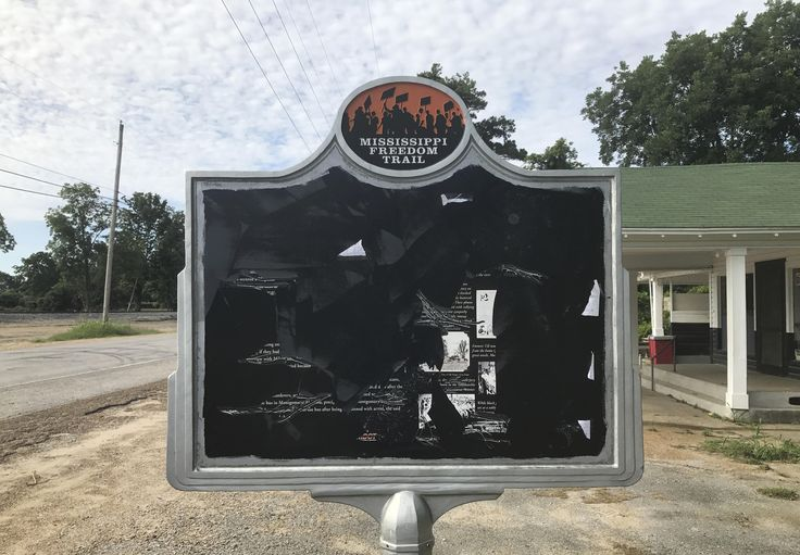 The sign remembers Emmett Till, a black teenager who was kidnapped and lynched in 1955