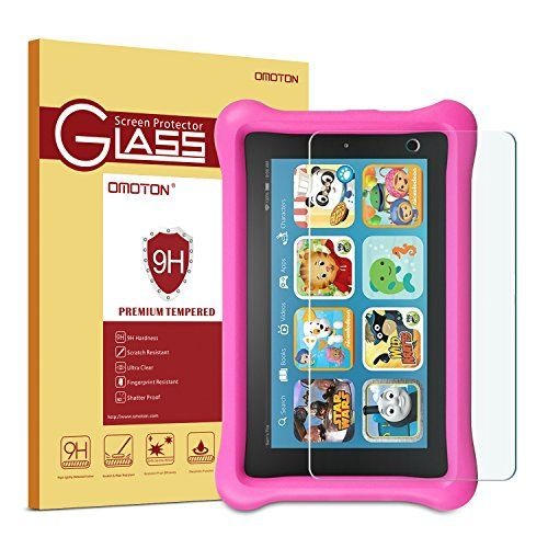 Fire Kids Edition Glass Screen Protector OMOTON Tempered Glass Screen Protector for Fire Kids Edition (2015 Released) [9H Hardness] [Crystal Clear] [Scratch Resist] [No Bubble]