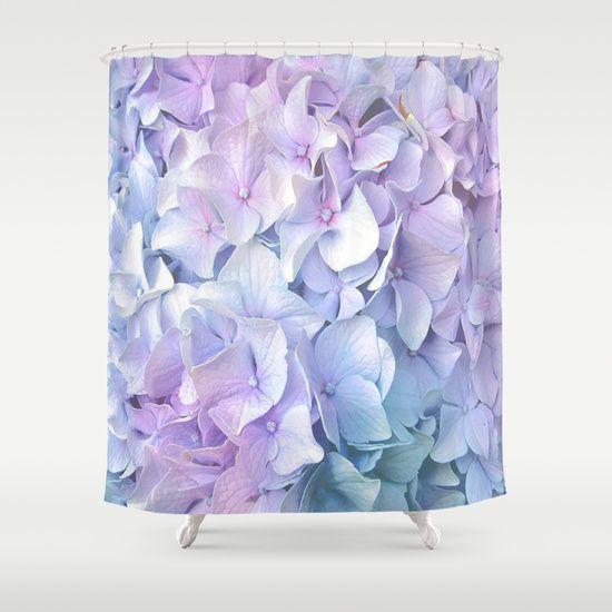 Soft Pastel Hydrangea Shower Curtain.   by Judy Palkimas