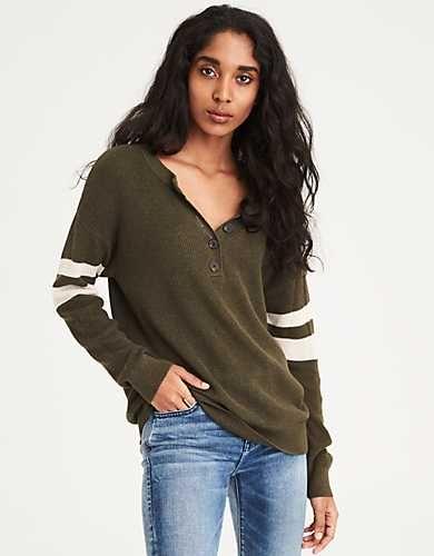fe37cdaae4 AE Varsity Stripe Henley Pullover Sweater -
