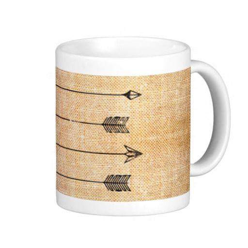 #Hipster rustic #linen #arrows #mug