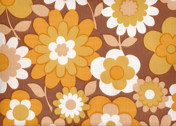 Vintage 1970s Brown Flower Wallpaper price is per by Pommedejour, $14.00