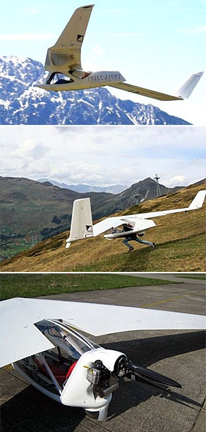 The Swift Light.. Not only can you run off a mountain with this a rigid-wing lighweight glider.. You can also opt for the 4-stroke motor version.. so you can take off from a flat runway with as little as 50 meters.. Once you've caught your thermal and are heading upward.. the propeler folds up into an aerodynamic tail shape.. and you're off to gliding with the birds..  Awesome!