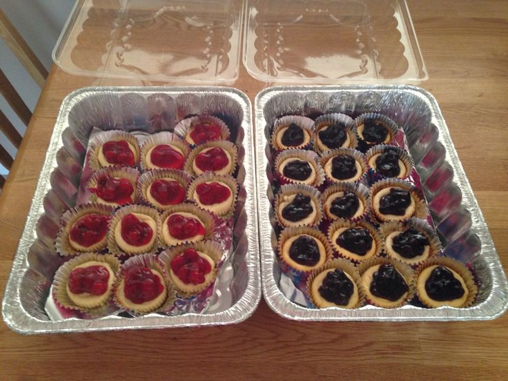Cherry and blueberry mini cheesecakes