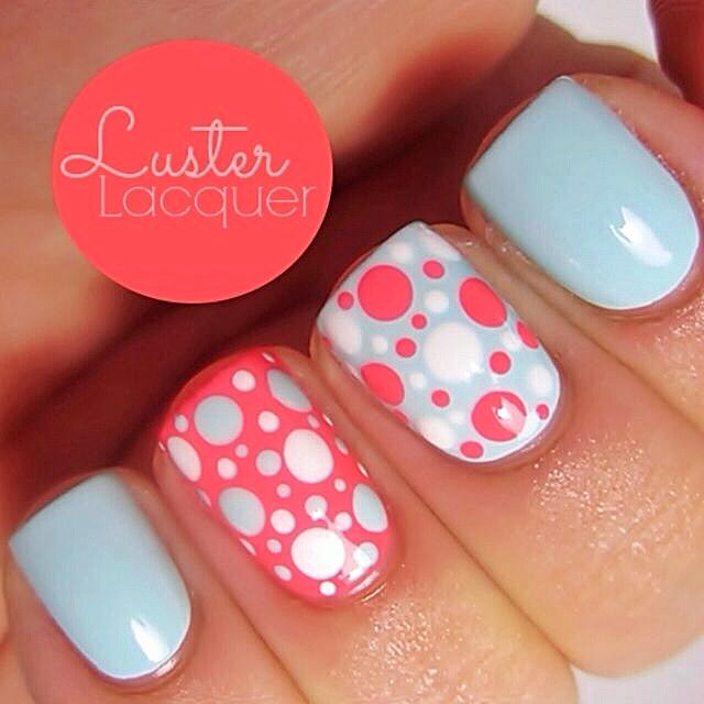 Baby Blue & Coral | Nail Art - Best 25+ Coral Nails Ideas On Pinterest Coral Nail Designs