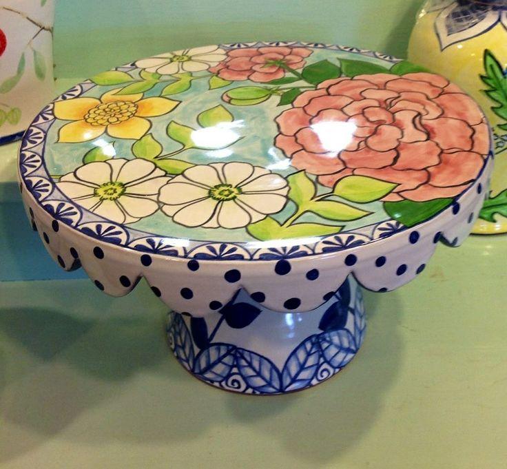 Damariscotta Pottery- Cakestand painted by Juliana- Facebook: Damariscotta Pottery