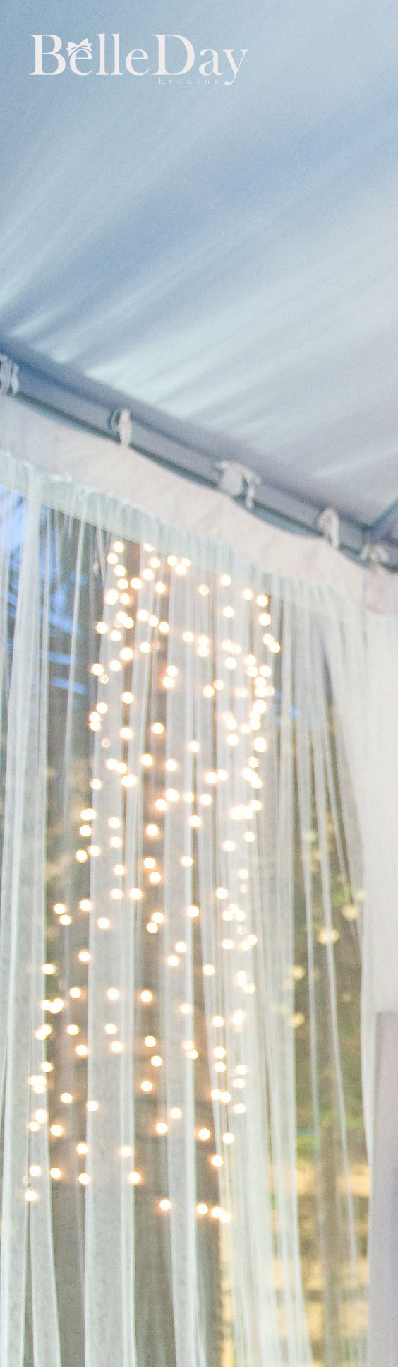 use sheer curtains and possibly battery operated or solar strung lights for your open air booth - Window Sheers