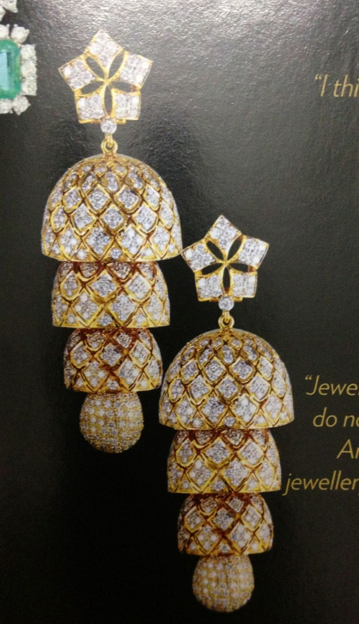 And contemporary gold jhumkas collection by khazana jewellery - Use This Style For Making The Diamond Jhumka Without The Tiers Just One Drop With The Small Dollop At The Bottom