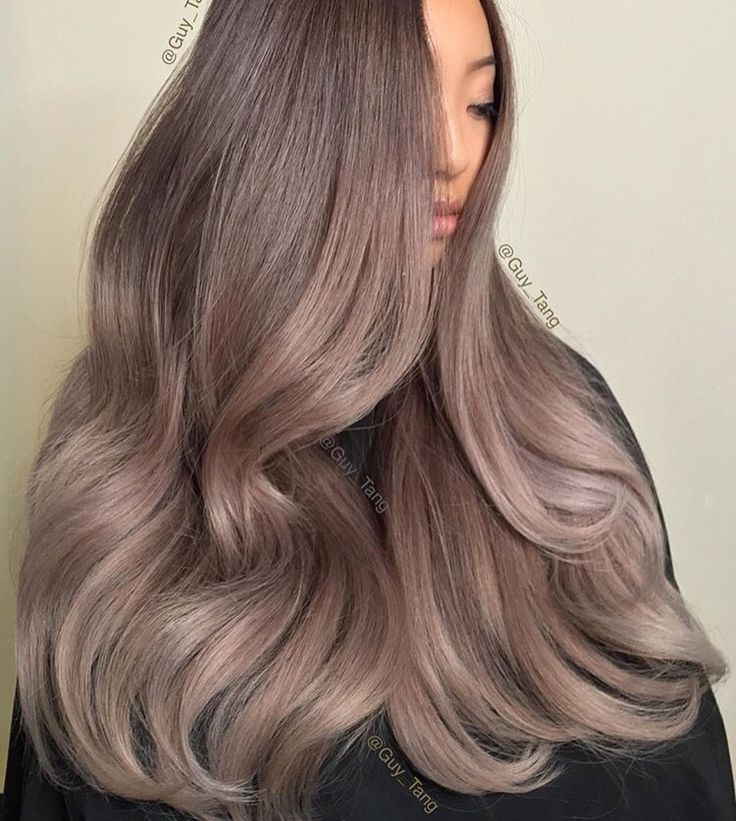 Ashy brown violet gray hair