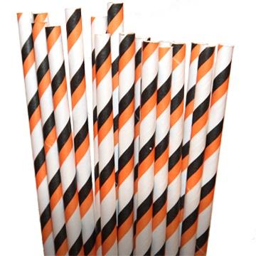 Stripe Black/Orange Paper Party Straws - $3.75 per 25 pack