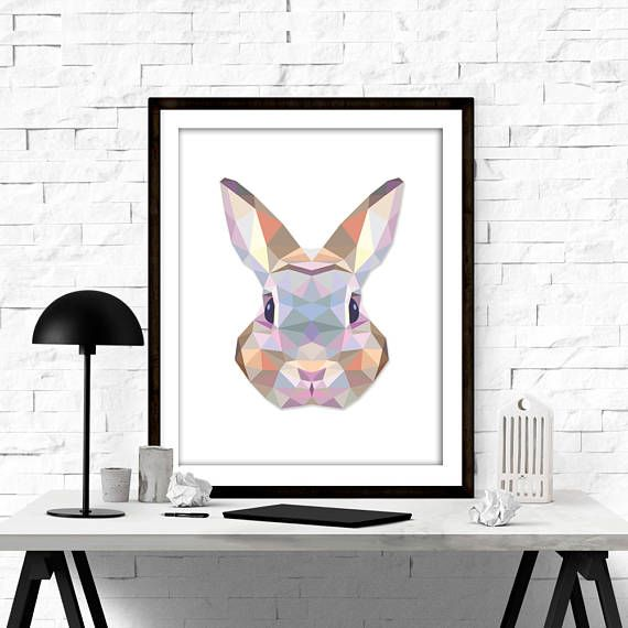 NURSERY DECOR - GEOMETRIC ANIMALS - BUNNY PRINT - BUNNY POSTER - WOODLAND ANIMALS - MINIMALIST PRINT  ••WHAT YOU WILL GET•• ▶Five High resolution (300DPI) JPEG files ▶Sizes: 4X6, 5X7, 8X10, 11X14 and 16x20 ▶Instant download your files directly from etsy, or from the download link that is sent via email. ▶The colors may vary depending on your screen and the printer.   PLEASE NOTE, THIS IS A DIGITAL DOWNLOAD ONLY. NO PRINTED MATERIALS OR FRAME ARE INCLUDED!  More about etsy instant downloads…