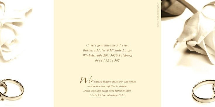 Ansicht Seite 2, 6 und 1. Eine Rose in der eleganten Farbe Sepia sowie goldene Eheringe ziehen sich über Seite 1 und 2 der Einladungskarte und bilden bei zusammengeklappten Zustand ein wunderschönes Gesamtbild.