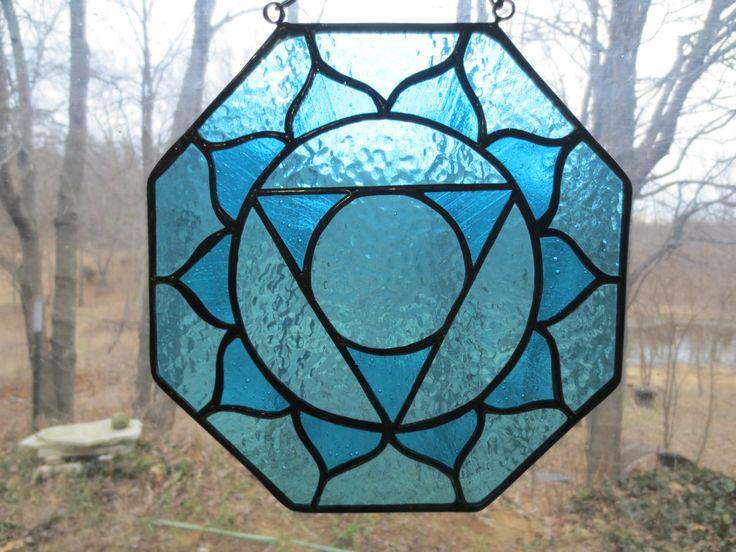 Throat Chakra Reiki Meditation Stained Glass Suncatcher by PerizadCreations on Etsy