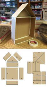 """Cutaway Cardboard House - Art Projects for Kids. Start with 12"""" cardboard squares from a moving box company to make this super easy to do with lots of kids. I had 36 show up for this class last week! #cardboardcrafts"""