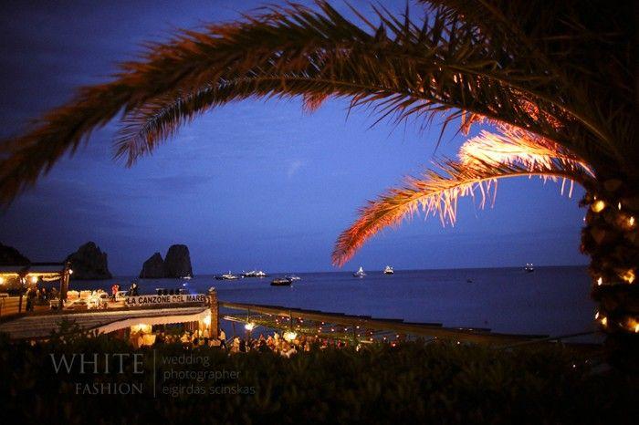 Stunning evening view of the prestigious La Canzone del Mare in Capri, Italy.