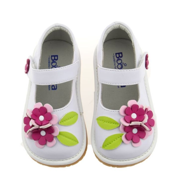 NEW Boocora White Mary Jane/Flowers Squeaky Shoes