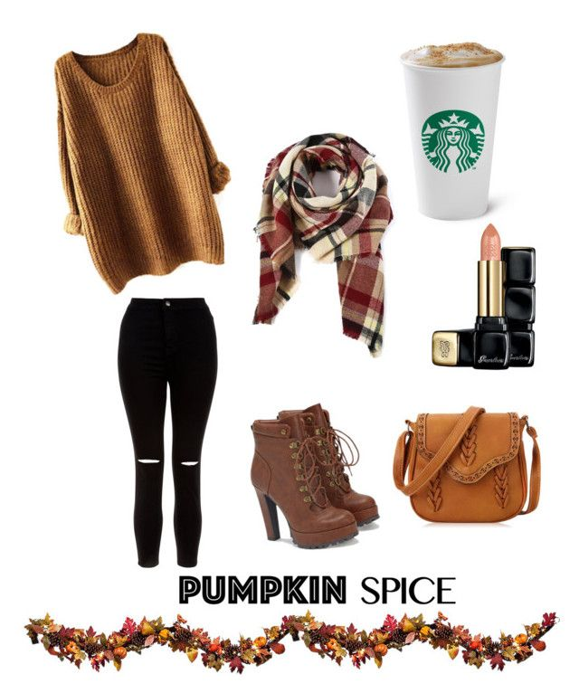 """Pumpkin spice and everything nice"" by anjana-akanksha on Polyvore featuring New Look, JustFab, Guerlain and Improvements"