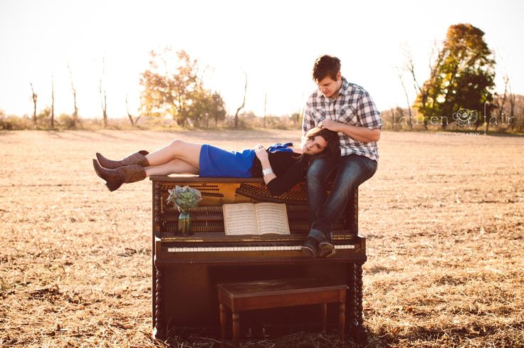 Vintage piano in a field, cowgirl boots, succulents, and old sheet music <3