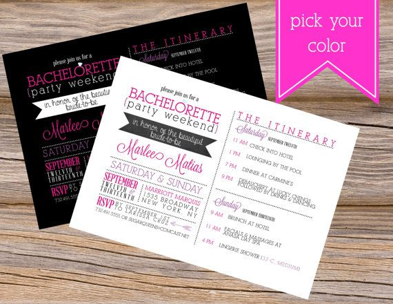 Bachelorette Party Weekend Itinerary Wedding Invitation~ Use coupon code PINTEREST15 at checkout for 15% off of your total order!