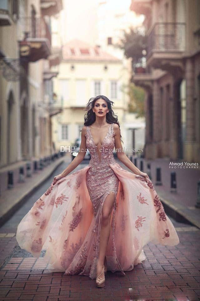 f18cca3d4d1 Evening Formal Dresses Yousef Aljasmi High Neck Detachable Over Skirt 2018  Lace Dubai Arabic Mermaid Occasion Prom Dress See Through Evening Dresses  On Sale ...