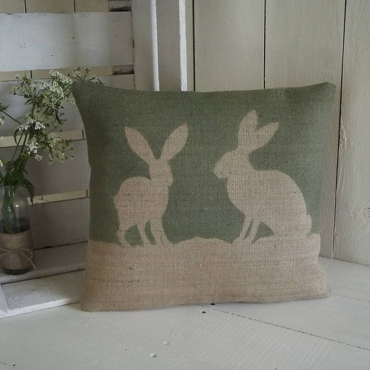 country hare hessian cushion by rustic country crafts | notonthehighstreet.com