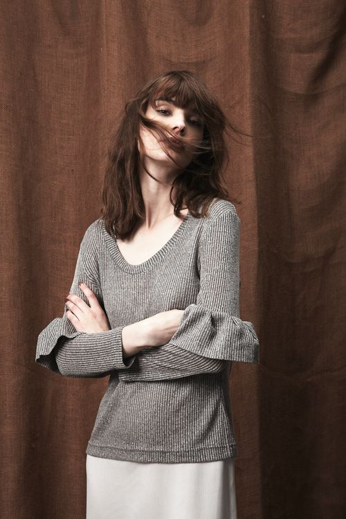 New Arrival / Ribbed-Knit Frill Sleeve Top