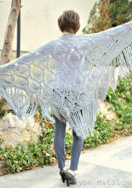 Beautiful crochet shawl! Free Pattern at  http://www.stitchnationyarn.com/Patterns/sidewalk-shawl.html