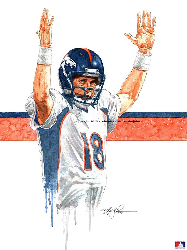 Broncos PEYTON MANNING Lithograph via kevin-john studio. Click on the image to see more!