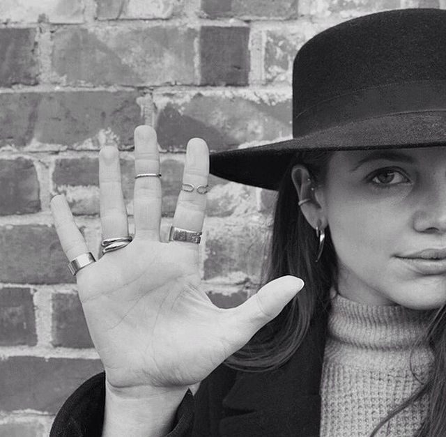 Beanie Major from In Detail Blog wearing her favourite Dinny Hall Wave Rings.