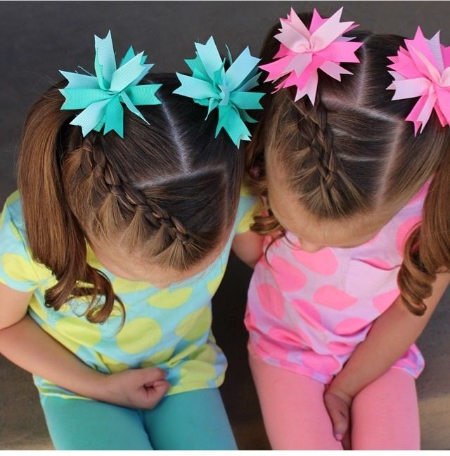 Fourstrand micro braided bangs into pigtails