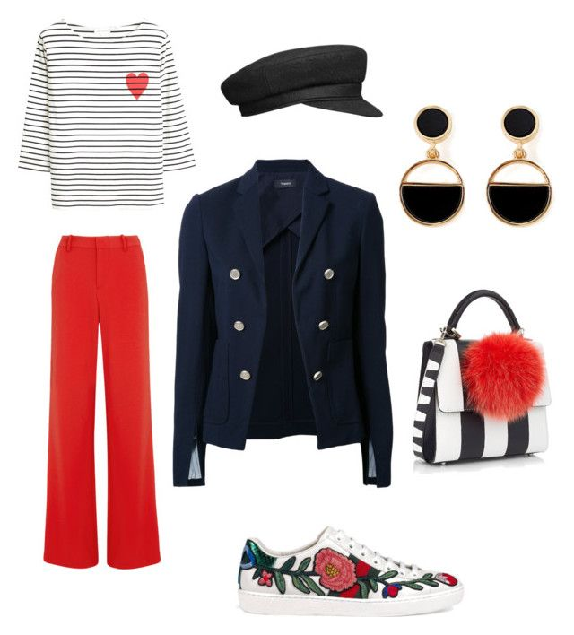 """""""Red and blue"""" by dariamedvedeva on Polyvore featuring Alice + Olivia, Chinti and Parker, Theory, Les Petits Joueurs, Gucci and Warehouse"""