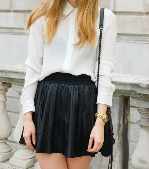 pretty embellished collar shirt and leather skirt