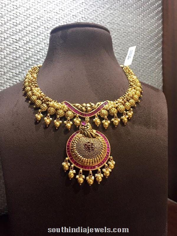 Antique ruby designer necklace