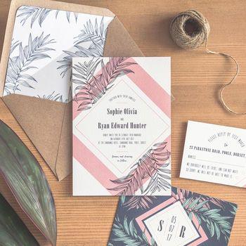Tropical Leaf Wedding Invitation / Navy