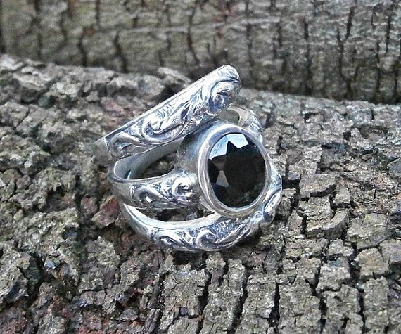 Engraved 3band silver ring with black stone by FiaFourieJewellery, $250.00