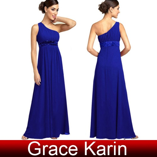 One Shoulder Beaded Prom Bridesmaid Evening Formal Party Dress Gown Long Dresses | eBay