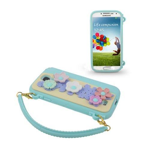 Bloemen Tas (Light blauw) Samsung Galaxy S4 Hoesje
