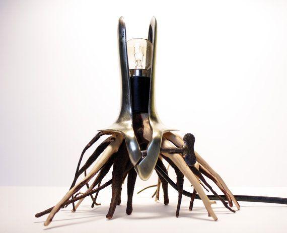 Polyp Night lamp  Juniper wood  Medical tool by Morgod on Etsy, $180.00