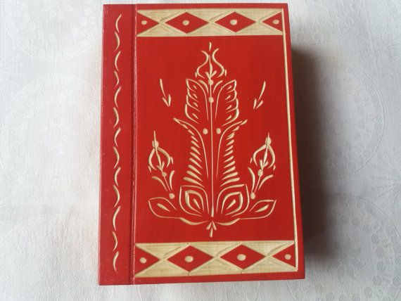 Big huge modern red magic mystory wizard puzzle book box with secret compartment inside surprise handmade wooden box