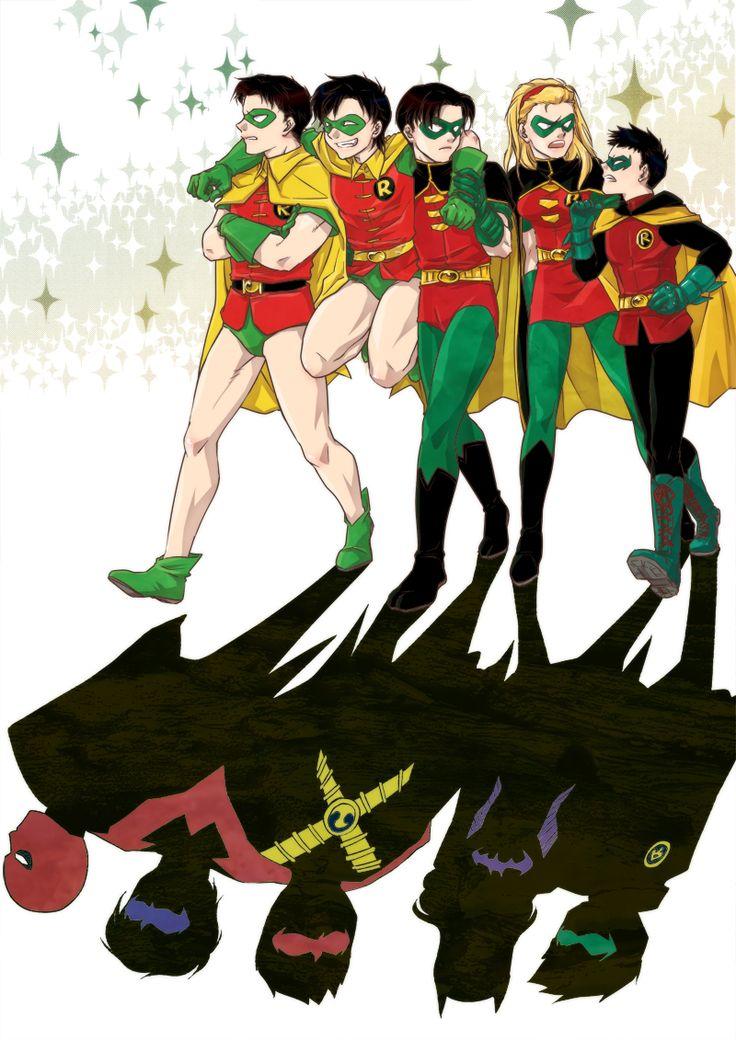 Jason Todd, Dick Grayson, Tim Drake, Stephanie Brown, and Damian Wayne (aka - Robin)