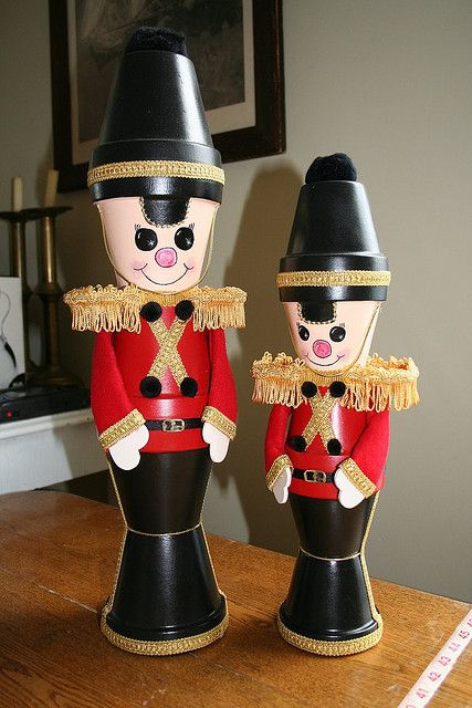 Tin soldiers made from clay pots, so cute