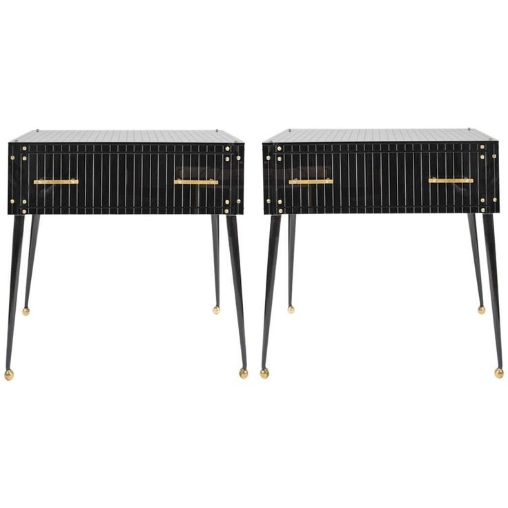 1970s Italian Black Glass Side Tables | From a unique collection of antique and modern commodes and chests of drawers at https://www.1stdibs.com/furniture/storage-case-pieces/commodes-chests-of-drawers/
