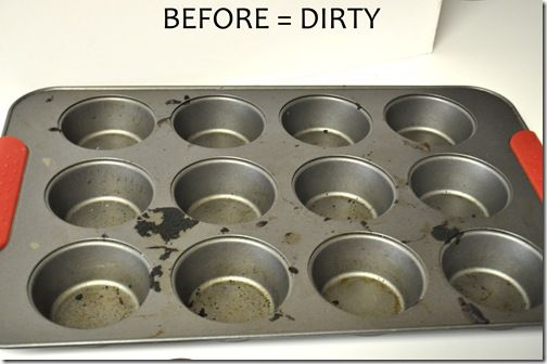How to clean a muffin pan - with dryer sheets! (Soak overnight with a dryer sheet in the water, then baked-on goop will slough off.)