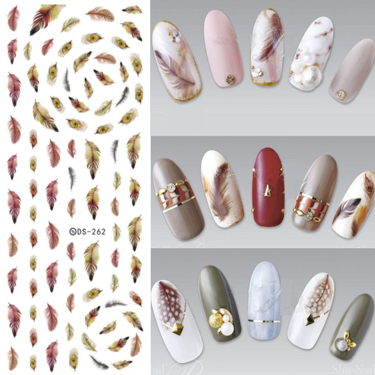 3Pcs Brown Yellow Feathers Nail Stickers Nail Art Water Decals Water Transfer Nails Art Sticker Beauty Decoration Manicure Tools #Affiliate