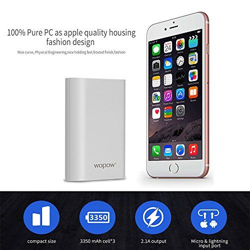 WOPOW P10plus 10000mah 2.1A High Speed Output Power Bank Portable Dual USB Port Battery Charger - WOPOW Power Bank 10050mah High Quality Portable Universal External Battery Charger Pack with 2 Dual USB Port for Samsung and iPhoneSmart Output Power BankPower, speed, compatibility and portability - You deserve it.10000mAh High CapacityThe power bank can charges your iPhone6 4 times, Samsung Gal...
