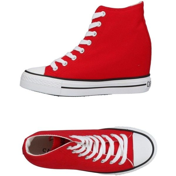 Cafènoir High-tops & Sneakers (1,460 MXN) ❤ liked on Polyvore featuring shoes, sneakers, red, round toe sneakers, wedge shoes, red shoes, red sneakers and red wedge sneakers