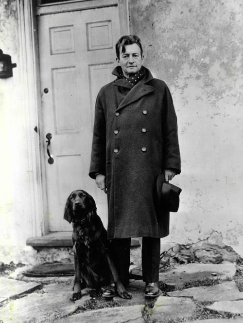 Claude Rains with his dog, Patience. Glen Mills, PA 1935